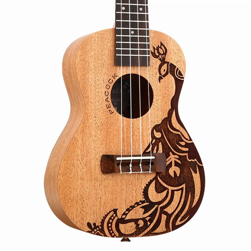 23 Ukulele Concert Mini Guitar Wholesale Gitar Peacock Pattern Music instrument hawaii ukelele Cavaquinho