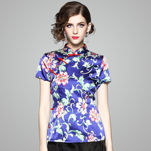 Blouse Women 2018 Summer Tang Suit Vintage Chinese Style Silk Printed Stand Collar Short Sleeved Cheongsam Tops Female S-XXXL
