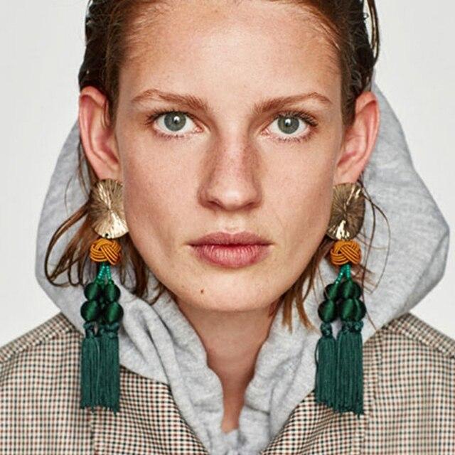 AE-CANFLY Brand Big Statement Tassel Earrings Vintage European Fringed Earrings
