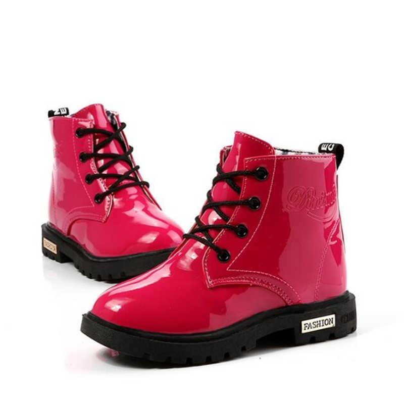 Herfst Winter Kinderen schoenen Klassieke Kinderen laarzen Baby Jongens Meisjes schoenen snowboots PU Leer Regen Laarzen Flats Sneakers 060