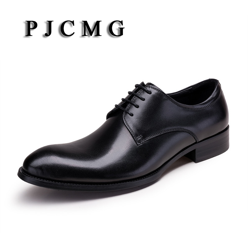 PJCMG Fashion New Black /Red/Browm Oxfords Formal Dress Lace-Up Pointed Toe Genuine Patent  Leather Business Man Wedding Shoes fragile lives a heart surgeon's stories of life and death on the operating table