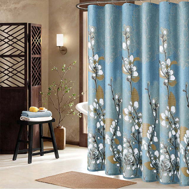 Orchids Polyester Fabric Elegant Shower Curtain Mildew Resistant Soft Bath Waterproof Fresh Bathroom Partition