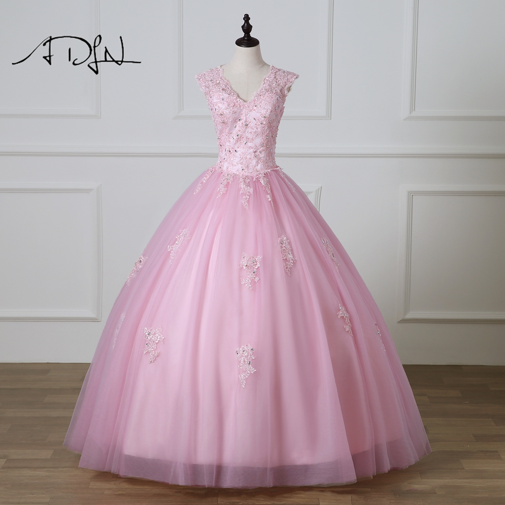 ADLN Vestidos De 15 Anos Debutante Gowns V-neck Ball Gowns Pink Quinceanera Dresses Open Back Princess Masquerade Dress