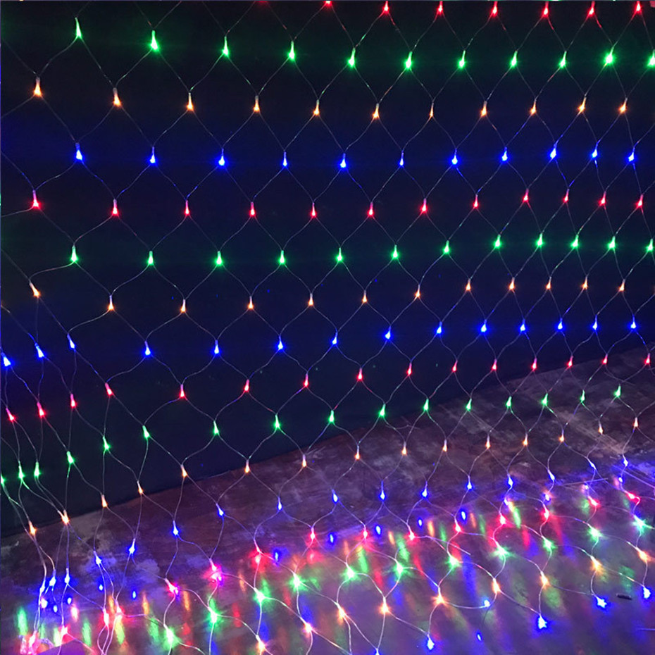 Xmas Led Net Mesh String Light 1.5X1.5M 3X2M 6X4M 220V Garland Window Curtain Christmas Fairy Lights Wedding Party Holiday Light