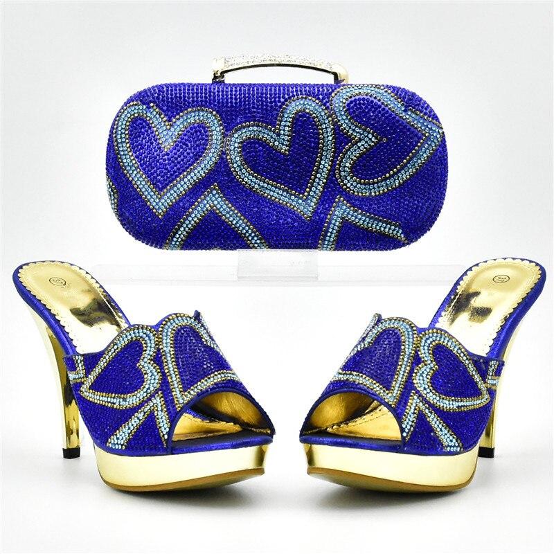 Assortis Sacs Mariage Sac Bleu Assorties Haute Italiennes or Chaussures Et Strass Décoré orange De Avec Les rose Femmes Qualité Nigérian vAnIx4qt