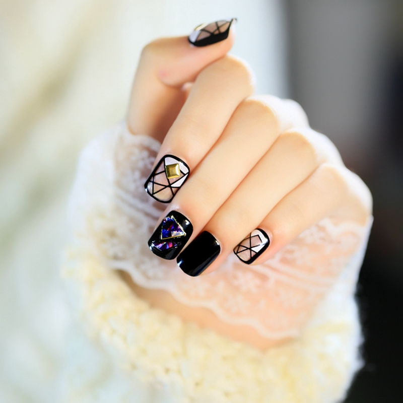 24pcs Rivets Fake Nails Short Square Colorful Broken Glass Design ...