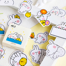 45pcs/pack Jumping Rabbit Boxed Sticker Kawaii Cartoon Small Stationary Phone Stickers Girl Student Gift