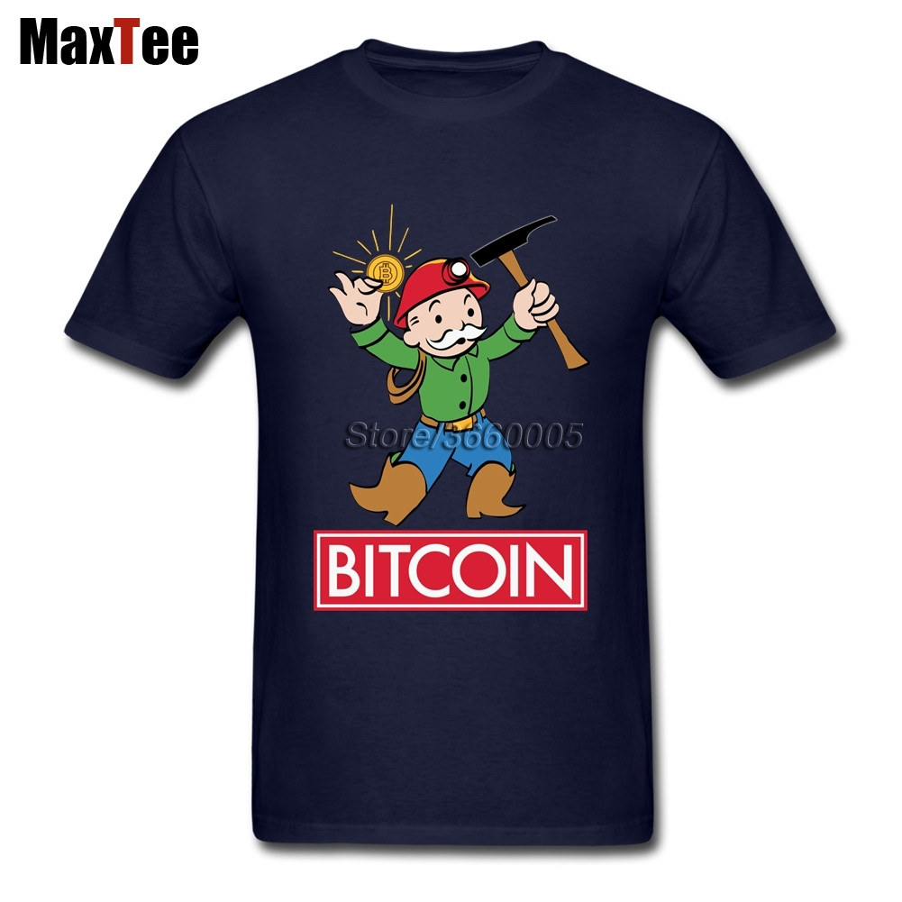 Funny Mineing Bitcoin T Shirt Men's Creative Short Sleeve Crewneck Cotton Big Size Family Tshirt