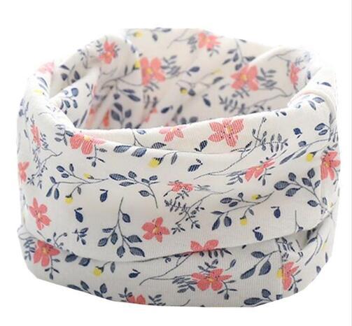 Осенне-зимний детский хлопковый плюшевый шарф, детский шарф для девочек, шарфы для мальчиков и девочек, детский воротник, детский волшебный шейный платок с круглым вырезом - Цвет: white flower