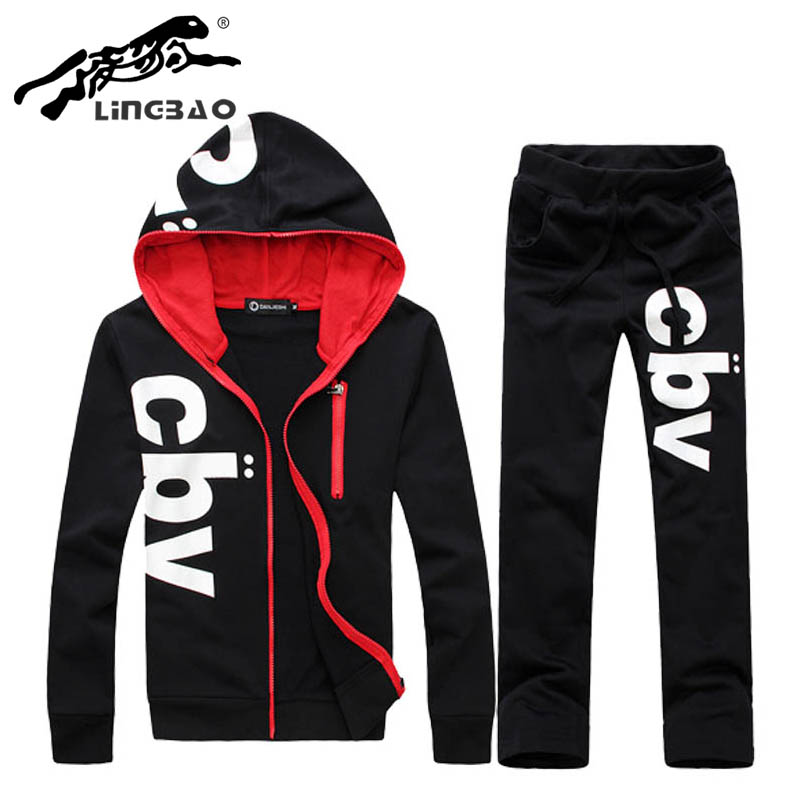 Casual men sportswear sets CBV letter print zip hoodie hooded jacket+pant hooded sweatshirt track top Joggingsuits men KP050