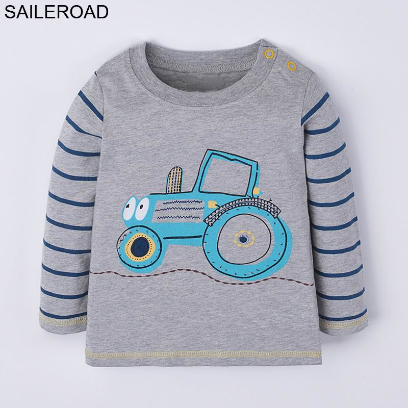 SAILEROAD Cartoon Tractors Boys Long Sleeve Tshirt 2018 New Autumn Children Kids T-shirts for Babies Child Tops Tees Clothing женская футболка other 2015 3d loose batwing harajuku tshirt t a50