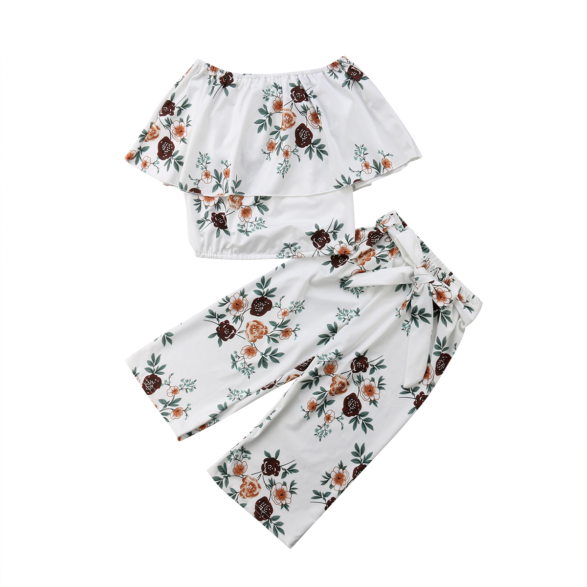 Kids Baby Girl Flower Clothing Set Summer Off Shoulder Floral Tops Pants Outfits Child Clothes
