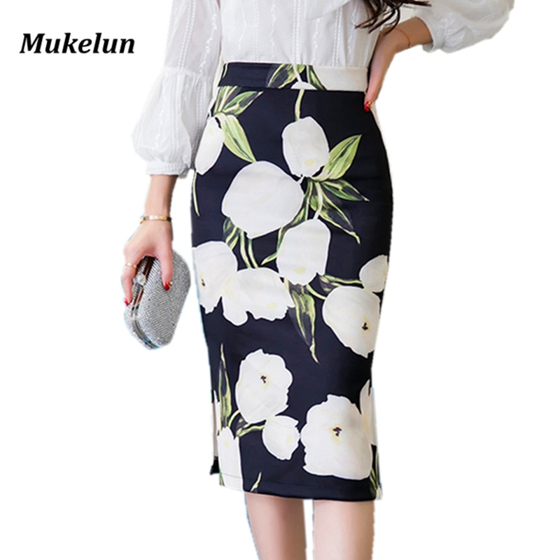 S-3XL Women Floral Print High Waist Pencil Skirt 2018 Summer Lady Office Bodycon Printed Skirt Female Elastic Work Skirt