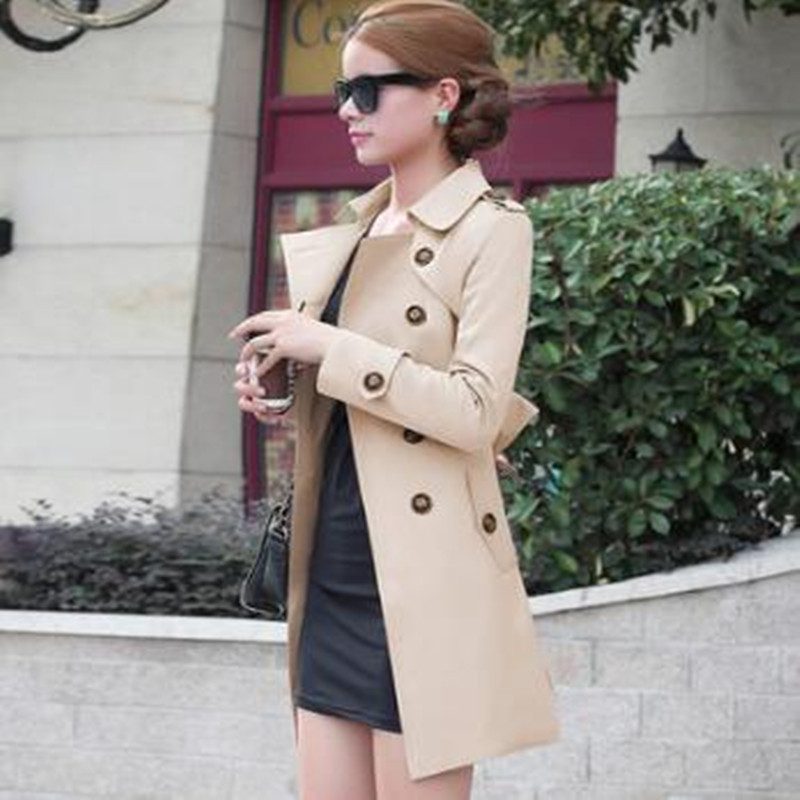 New Spring Coat Women Slim Overcoat Medium-long Outerwears Sashes Trench Coat Women Casual Trench Coat For Women S-5XL 22001