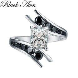 Ювелирные изделия 5,1 г 100% подлинное серебро 925 пробы, черные обручальные кольца с камнями для женщин Bague C299