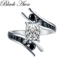 BLACK AWN Fine Jewelry 5.1 Gram 100% Genuine 925 Sterling Silver Row Black Stone Anelli di fidanzamento per le donne Bague C299