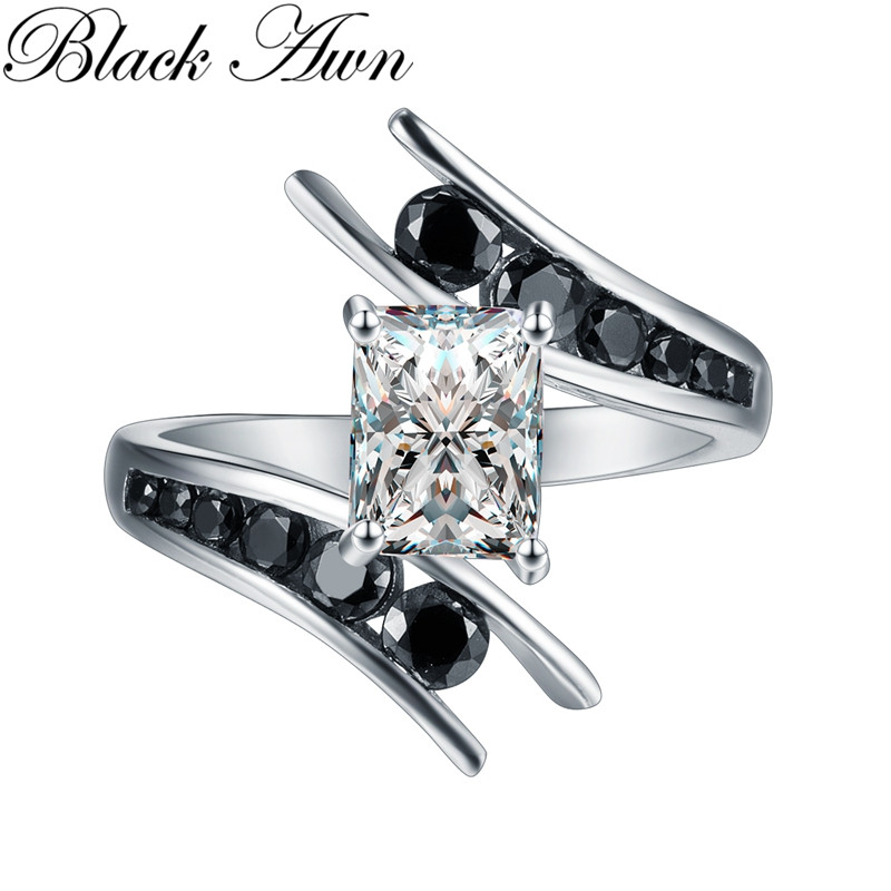 Fine Jewelry 5.1 Gram 100% Genuine 925 Sterling Silver Row Black Stone Engagement Rings For Women Bague C299