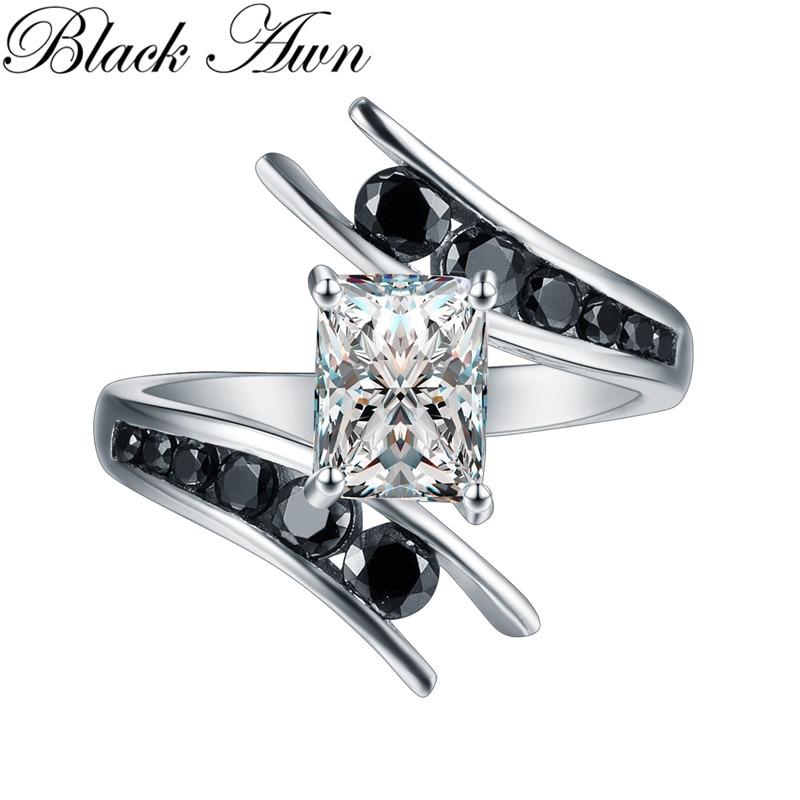 Fine Jewelry 5 1 Gram 100 Genuine 925 Sterling Silver Row Black Stone Engagement Rings for Innrech Market.com