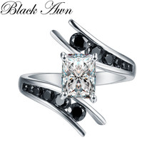 Fine Jewelry 5 1 gram 100 oryginalny 925 Sterling Silver Row Black Stone pierścionki zaręczynowe dla kobiet Bague C299 tanie tanio Rings Trendy Srebrny Geometryczne Engagement Wedding Bands Other Artificial material Black Awn 1417191881546 Zircon Prong Setting