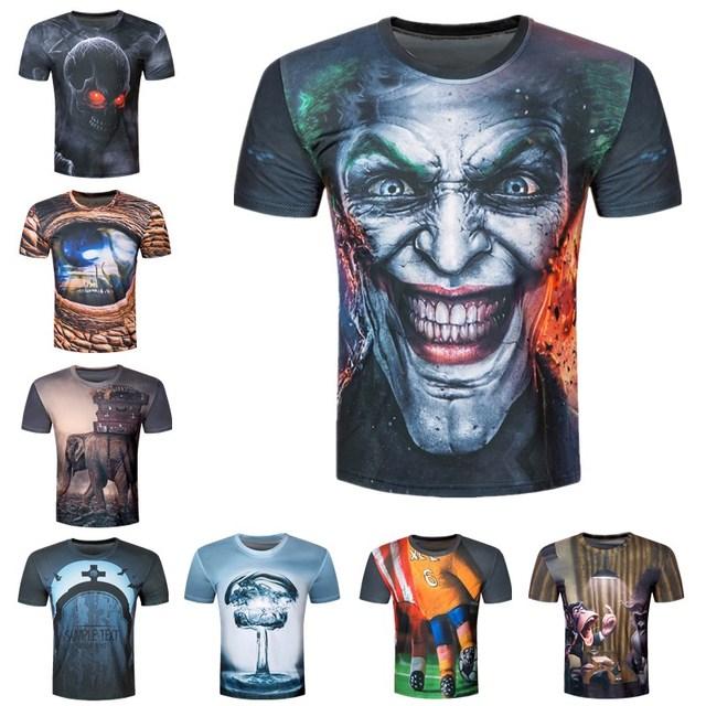 Creative Male 2017 Funny Skull Joker 3D Print T Shirt Summer Short Sleeves Harajuku Tops T-shirt Men Brand Clothing Tshirt Homme