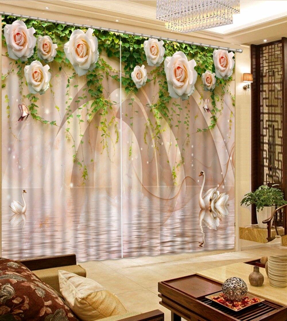 Luxury 3D Window Curtain living room Shower Hooks Swan Marble Green Leaves Rose Flower Curtains blackout