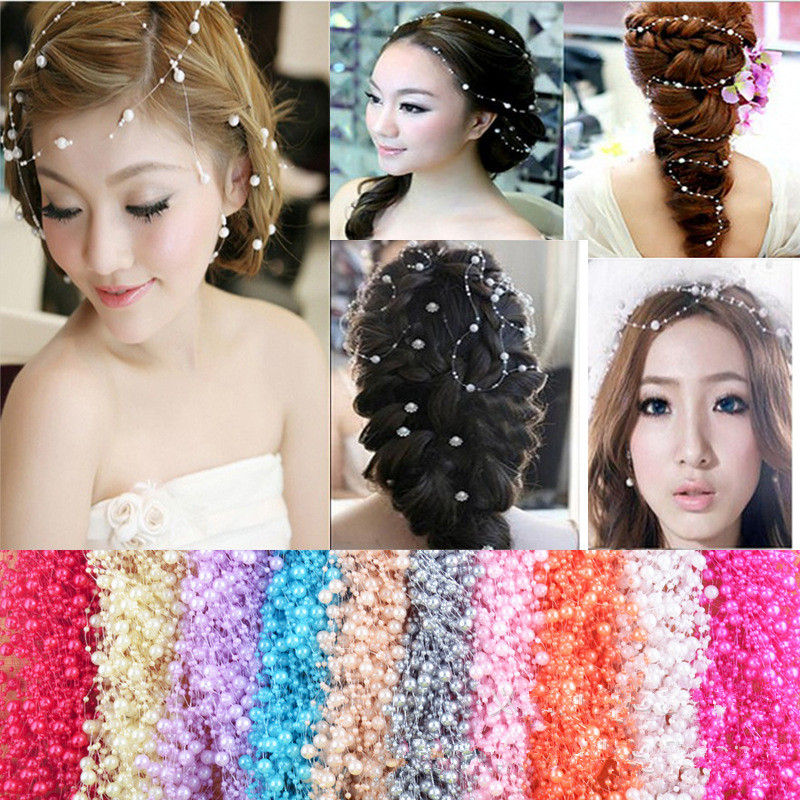 Simple Princess Pearls Chain Headband Queen Pageant Prom Wedding Party Hair Decoration Headpiece Head Accessory