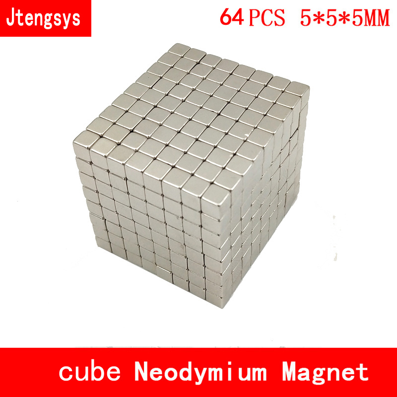 64pcs <font><b>Neodymium</b></font> <font><b>magnet</b></font> <font><b>5x5x5</b></font> Rare Earth small Strong block permanent 5*5*5mm fridge Electromagnet NdFeB nickle magnetic square image