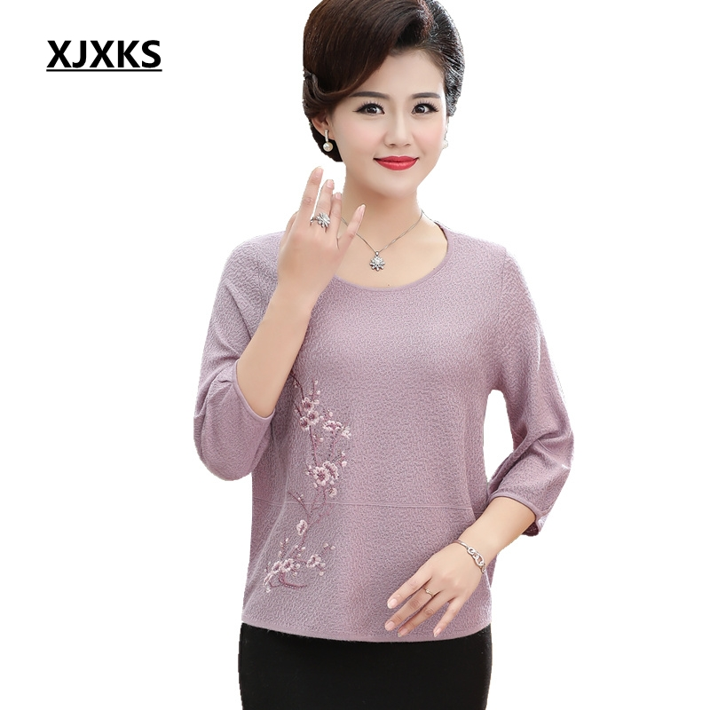 XJXKS 2019 Spring New Women Thin Sweater Pullover Loose Large Size Linen Three Quarter Sleeve Plus