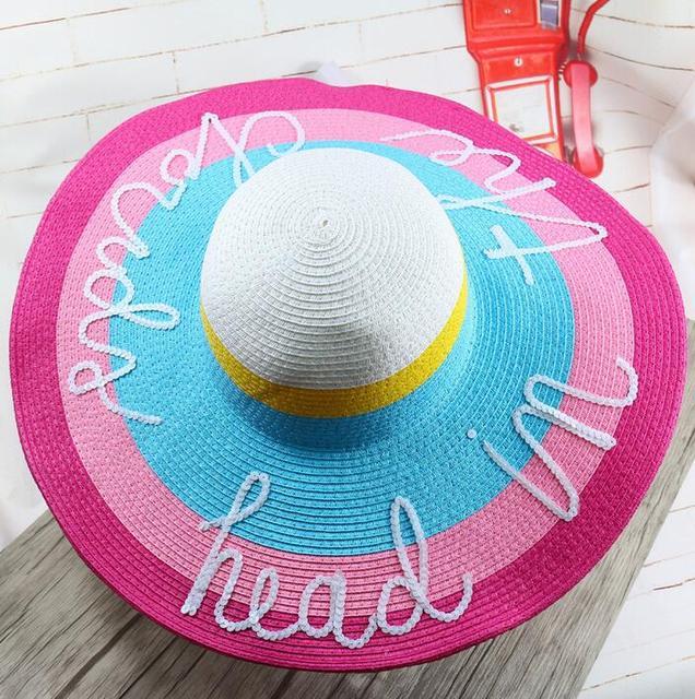2016 Estilo Caliente estaba a bordo de gran sombrero de paja mujeres niñas protección uv sombrero de sol de moda arco grande sombrero de la playa de vacaciones de verano