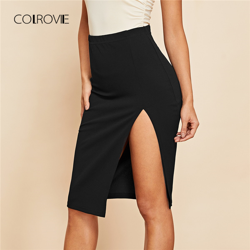 COLROVIE Black Solid Split Sexy Skirt Autumn Streetwear Fashion High Waist Casual Women Skirt Office Ladies Midi Skirts