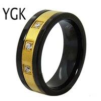 YGK Wedding Jewelry Black With Golden Genter CZ Tungsten Rings for Men's Bridegroom Wedding Engagement Anniversary Ring
