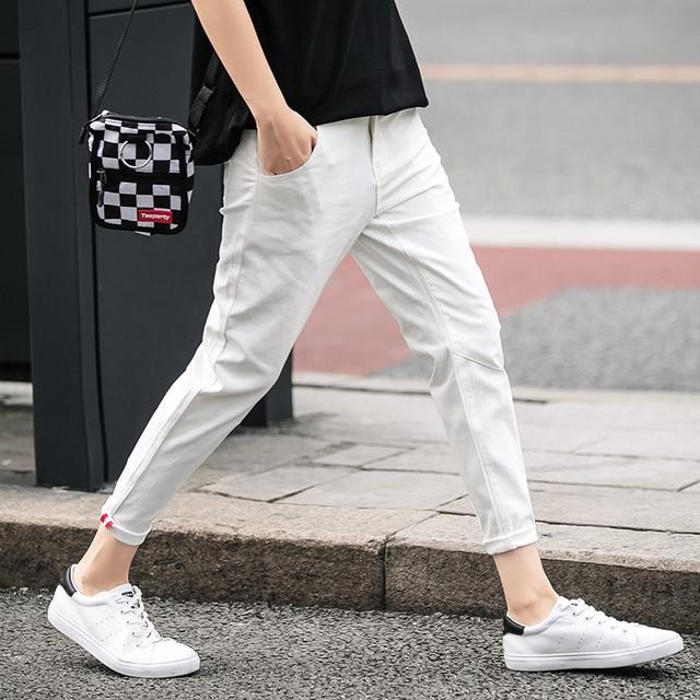 0ee81e1a Jantour de Primavera algodón verano tobillo pantalones longitud me nuevos  casuales Mens Slim Fit Pantalones Moda hombre marca ropa