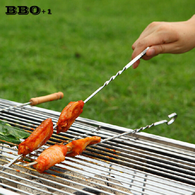 Stainless Steel BBQ Skewers Grill Stick Grill Barbecue Needle Camping HOT