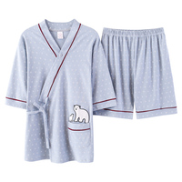 2019 Summer Japanese Kimonos Womens Japan 100%Cotton Yukata Female Lounge Home Clothing Suits Cartoon Sleepwear Big Size Pajamas