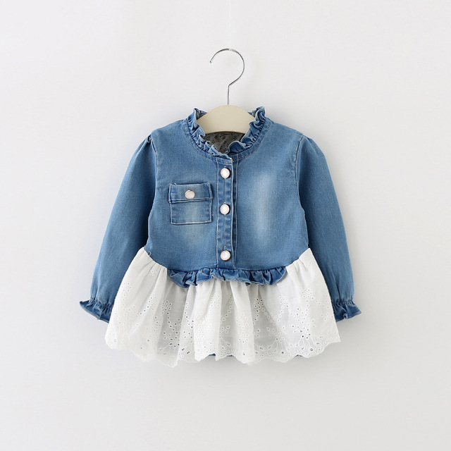 Осень новорожденных девочек куртка Кружевной воротник девушки джинсовый материал пальто цветок лоскутное с длинным рукавом дети наряды мода детская одежда