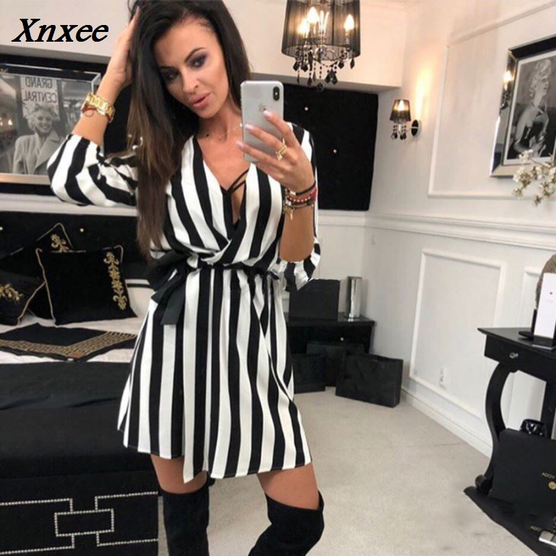 Sexy Women V-Neck Striped dress  New Fashion Summer Black White Striped Beach Casual Loose dresses vestidos Plus Size Xnxee