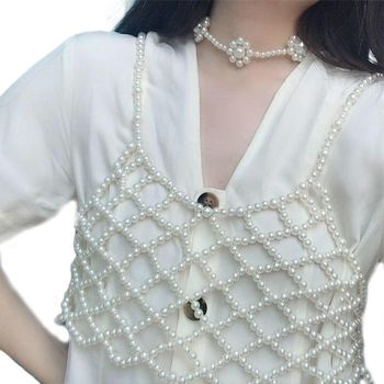 Womens Sexy Handmade Imitation Pearls Beading Crop Top Exterior Vest Hollow Out Grid Camisole Decoration Night Party Clubwear 5