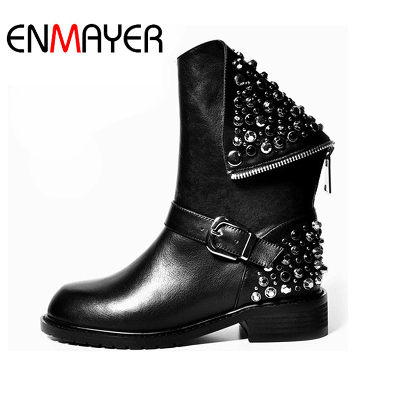 ENMAYER New Classic Black Boots Shoes Mid-calf Boots Winter Warm Shoes Size 34-39 Motorcycle Boots Shoes Woman Rivets Charms double buckle cross straps mid calf boots