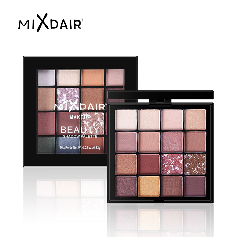 MIXDAIR 16 Cores Da Sombra Da Sombra de Olho Paleta de Pigmentos de Maquiagem À Prova D' Água Brilho Brilho Fosco sombra de Olho Cosméticos de Beleza