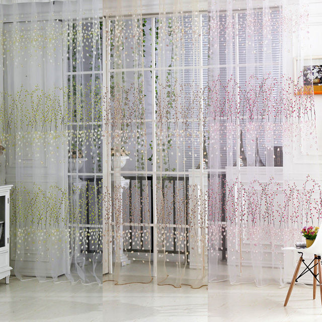 Plum Flower Floral Tulle Voile Window Curtain Drape Panel Sheer Scarf  Valances For Home Hotal Office