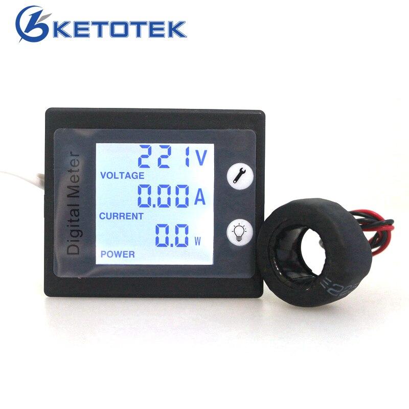AC 220V 260V 10A Digital Voltmeter Ammeter Current Voltage Power Energy Meter Blue LCD Backlight STN 360 degree Visible