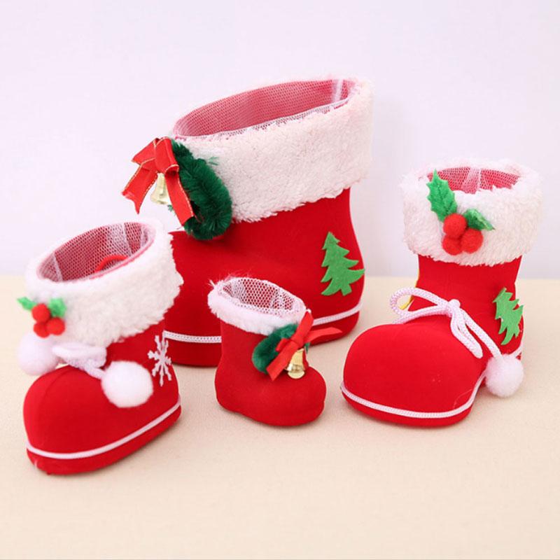 Chirstmas Рождество Санта Обувь чулок конфеты мешок подарков Рождество дерево висит Пластик стекаются украшения Интимные аксессуары