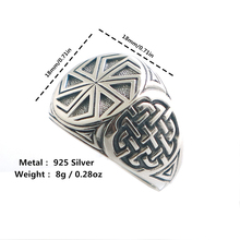 גודל 6 כדי גודל 14 יוניסקס מגניב 925 כסף ויקינגים סלאבית גלגל קמע טבעת