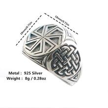 خاتم تميمة للعجلة السلافية الفايكنج فضية 925 رائعة مقاس 6 إلى 14 للجنسين