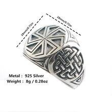 Tamanho 6 ao tamanho 14 unissex legal 925 prata vikings eslava roda amuleto anel