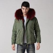 2016 Big raccoon fur collar wine red fur inside real fur hoodie coat winter men Mr fur jacket