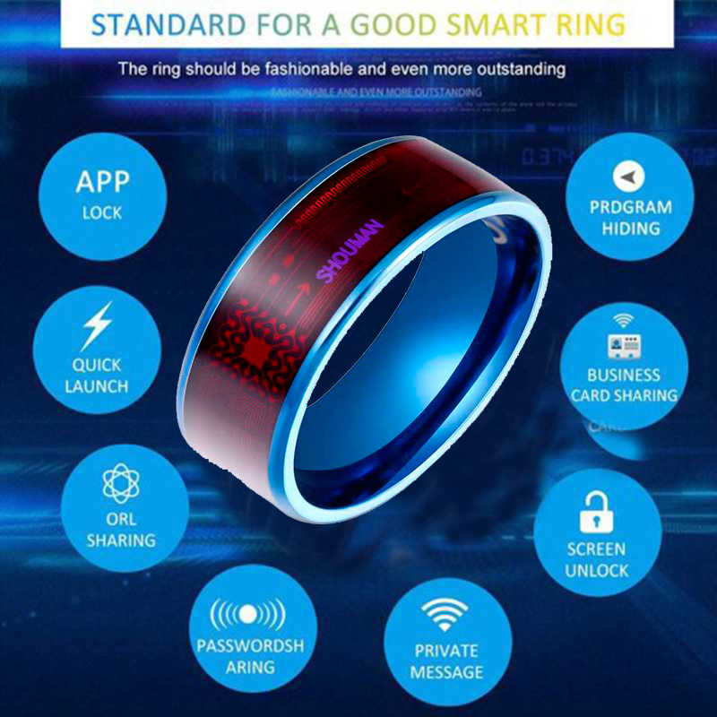 Mode Mannen Ring Magie Slijtage Nfc Smart Ring Vinger Digitale Ring Voor Android Telefoons Met Functionele Paar Rvs ring