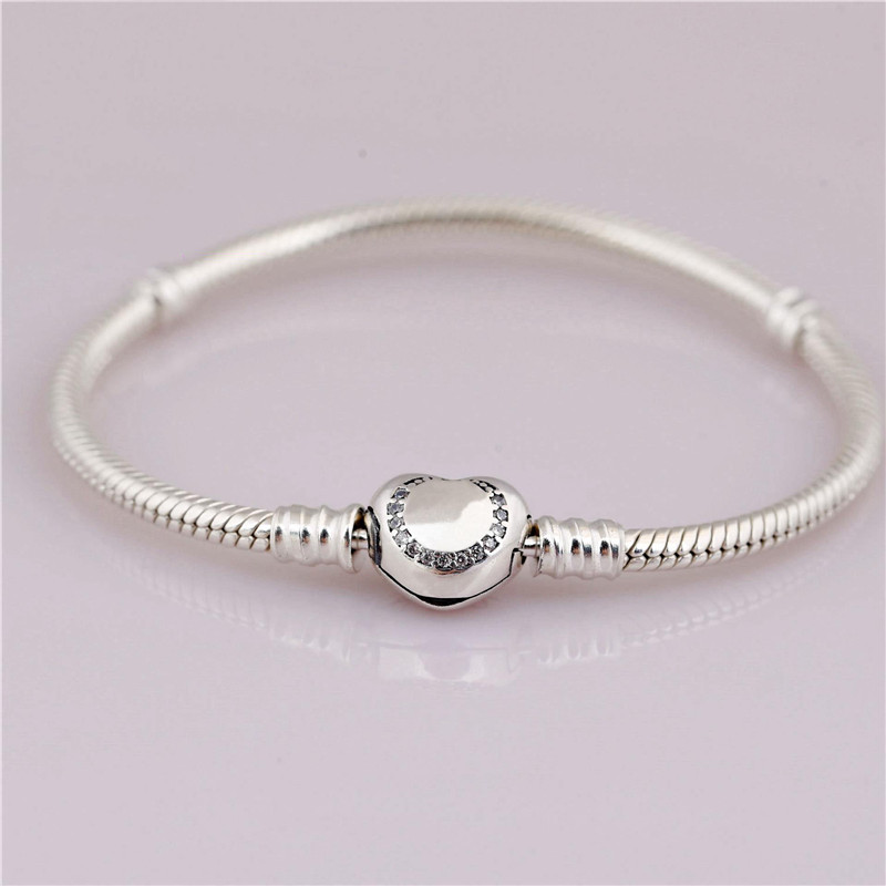 925 Sterling Silver Bead Charm Snake Chain Fit Original Pandora Bracelet with Circle Zirconia Heart Clasp for Women DIY Jewelry