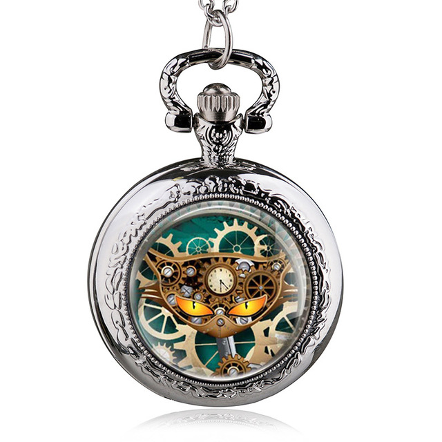 New Arrival Bronze Punk Cat Quartz Vintage Necklace Pocket Watch Man Women Steam
