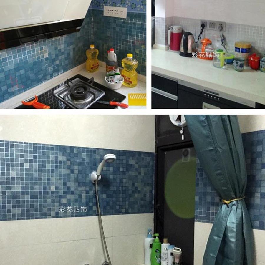 Купить с кэшбэком Bathroom wall stickers PVC mosaic wallpaper kitchen waterproof tile stickers plastic vinyl self adhesive wall papers home decor